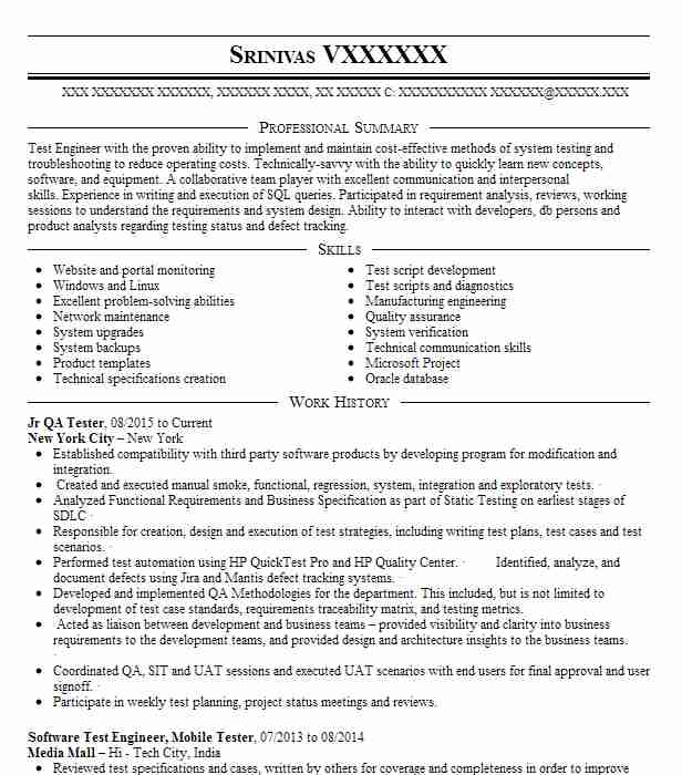 Etl Tester Resume Sample: Jr Qa Tester Resume Sample
