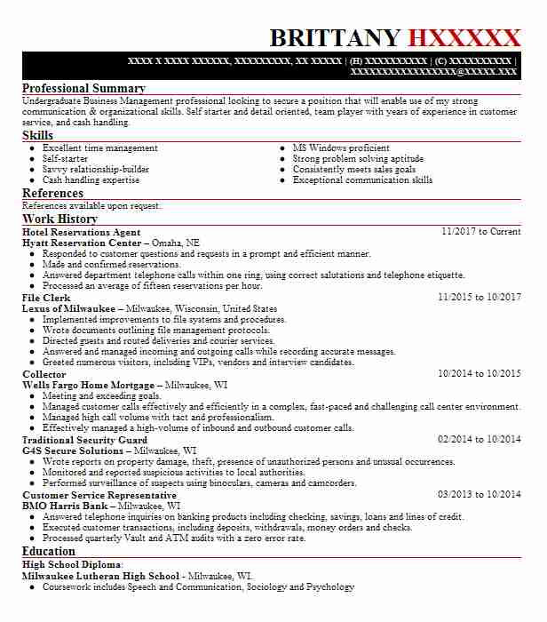 hotel reservations agent resume sample
