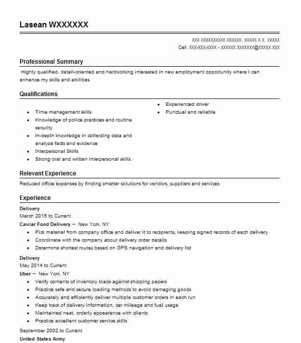 delivery resume example postmates
