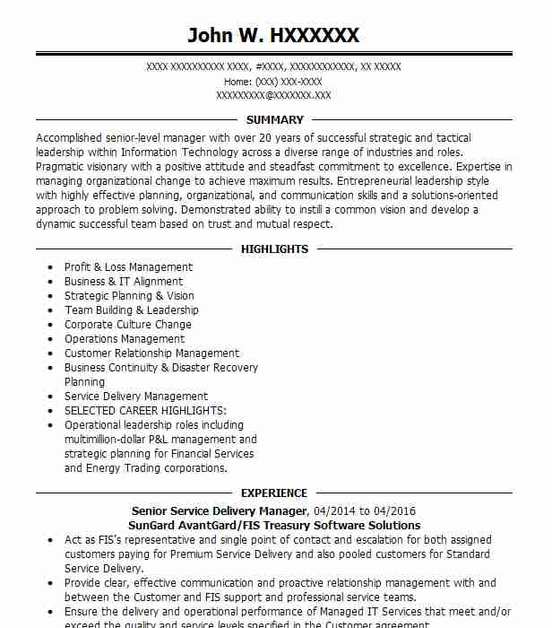senior delivery manager resume example alight solutions