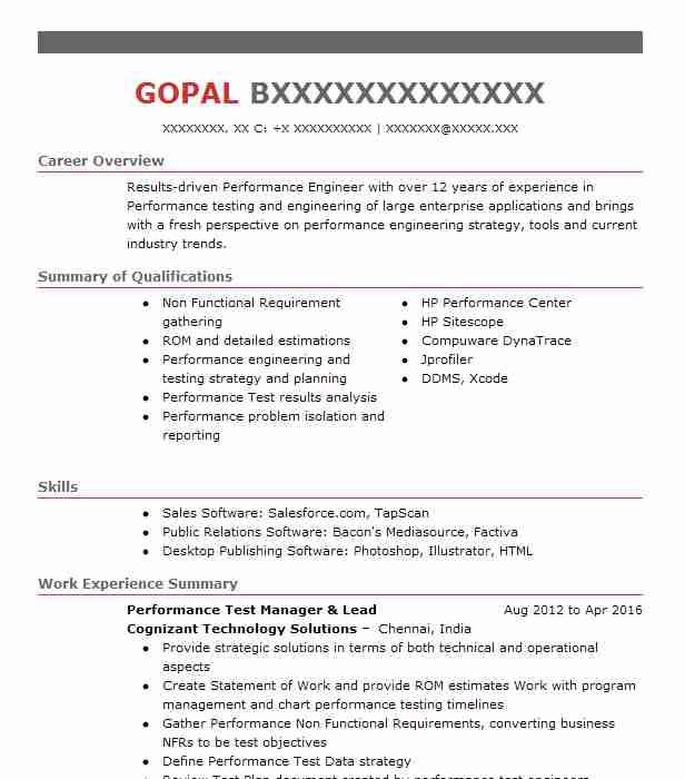 performance test manager resume example cognizant