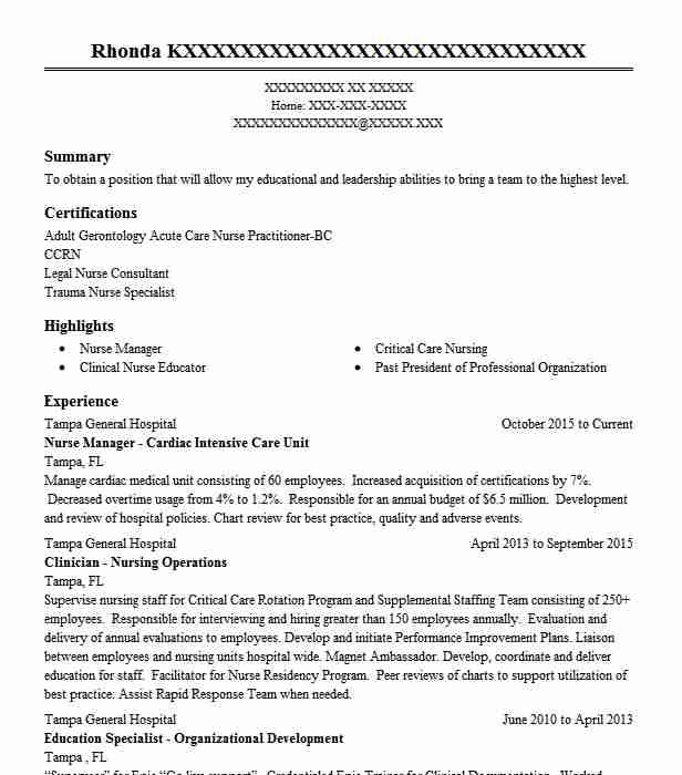 Nurse Manager   Cardiac Intensive Care Unit  Child Care Provider Resume