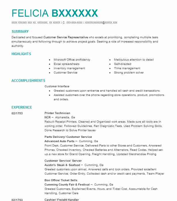 printer technician resume sample