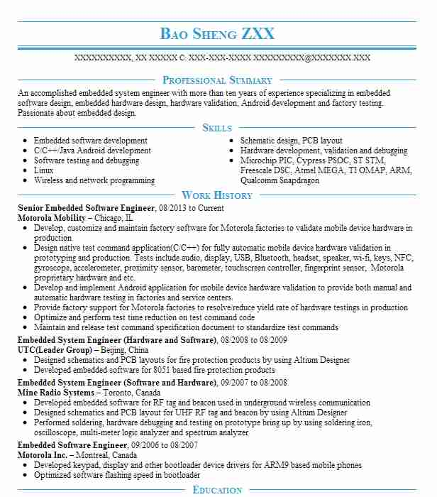 senior embedded software engineer resume example intel