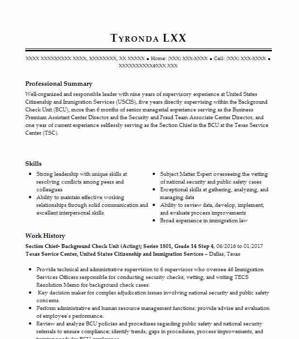 Background Check Specialist II Resume Example Department