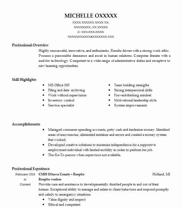 respite worker resume sample worker resumes livecareer