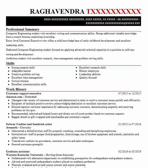 customer support executive resume sample