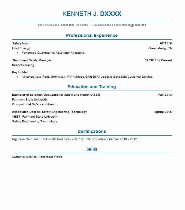 46 Occupational Health And Safety (Engineering) Resume Examples in ...