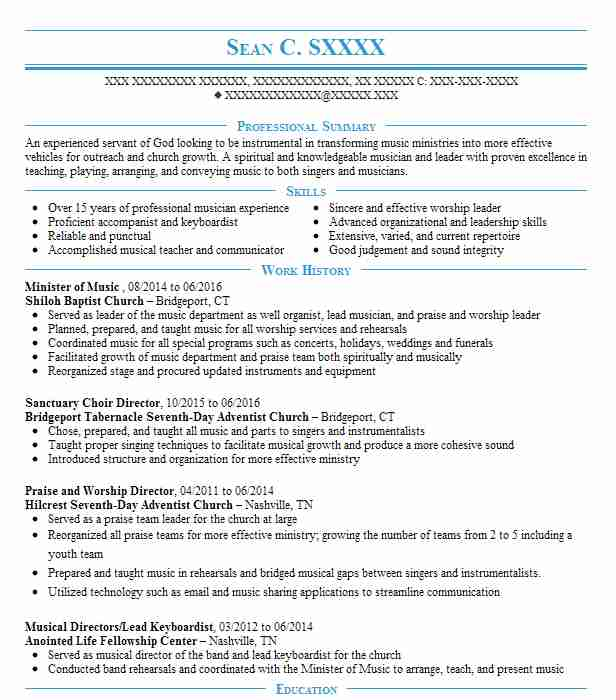 praise and worship leader resume example capital