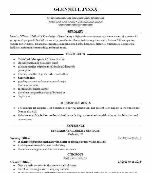 g4s security officer sample resume security guard cover letter - Nuclear Security Guard Sample Resume