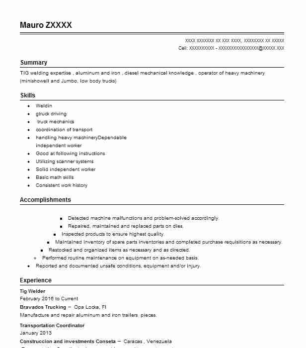 Tig Welder Resume Sample | Welder Resumes | LiveCareer