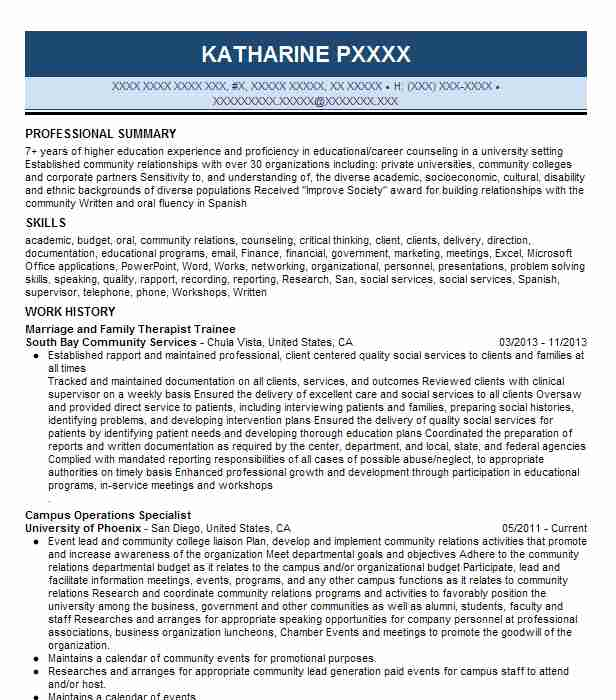 Marriage And Family Therapist Resume Sample | LiveCareer