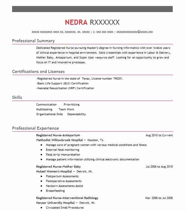 Registered Nurse Antepartum  Experienced Registered Nurse Resume