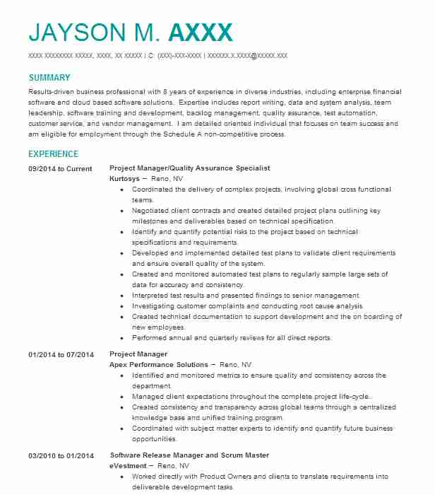 Quality Improvement Specialist Resume Sample Livecareer