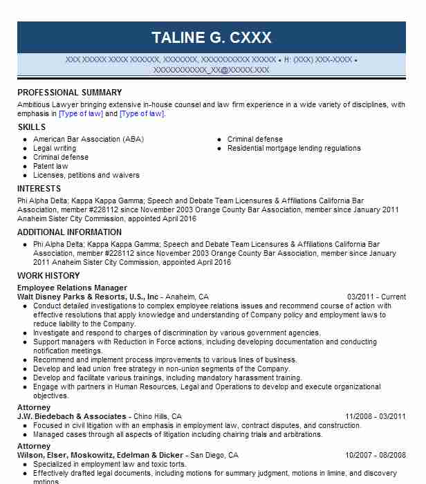 Employee Relations Manager Resume Sample Resumes Misc