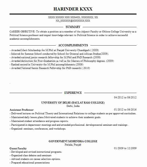 Assistant Professor Resume Sample Assistant Resumes Livecareer