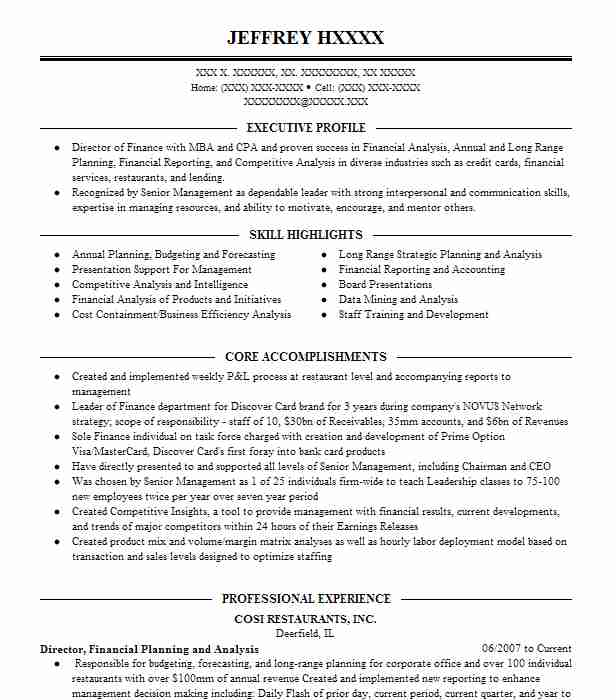 manager  financial planning  u0026 analysis  fp u0026a  resume