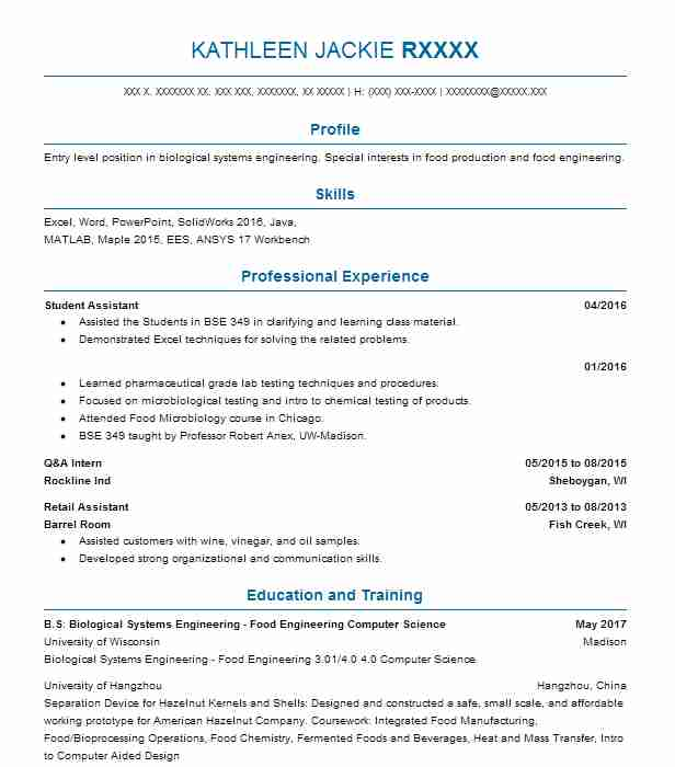 103 Biotechnology (Engineering) Resume Examples in Wisconsin ...