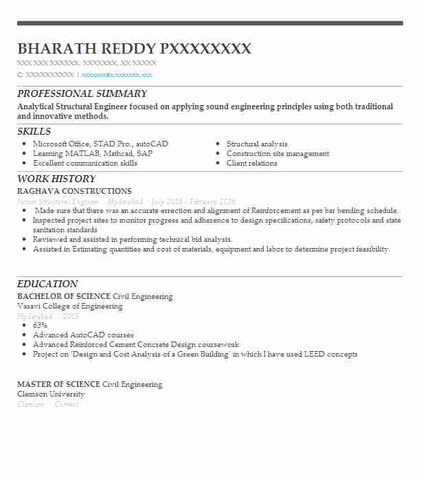 Junior Structural Engineer Resume Example Safa Engineering Services Southfield Michigan