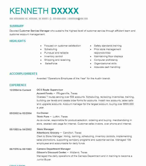 route supervisor resume example hill distributing