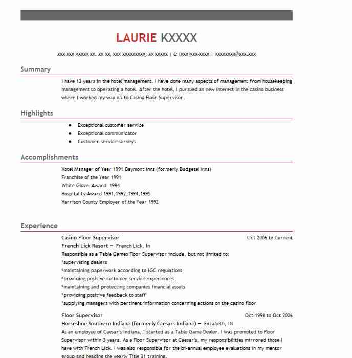 casino floor supervisor resume sample