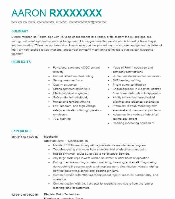 Mechanic Resume Sample Technician Resumes Livecareer
