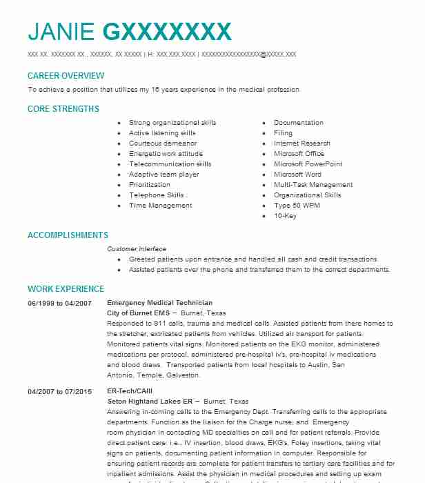 Emergency Medical Technician Resume Sample | Resumes Misc | LiveCareer