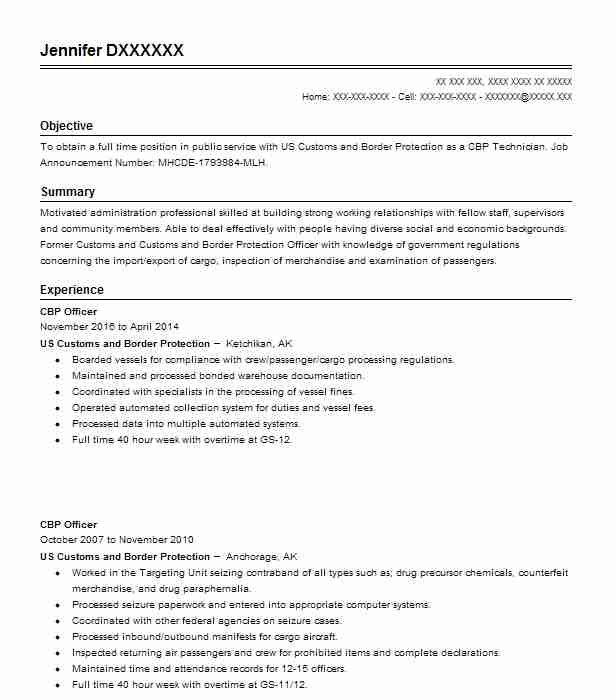 cbp officer resume sample