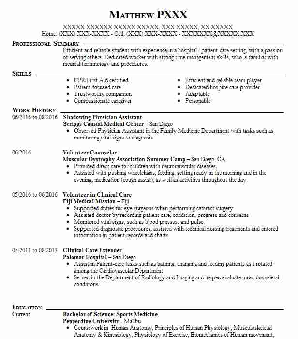 Physician Assistant Shadowing Resume Example Good