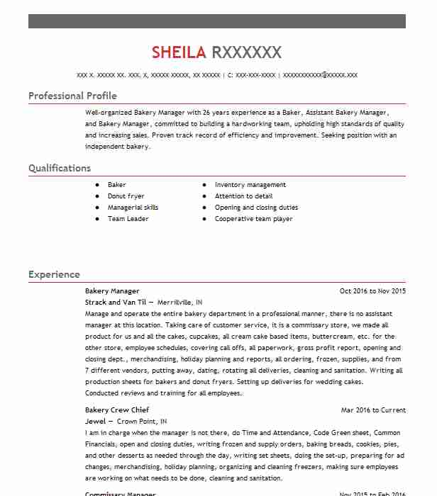 bakery manager resume sample