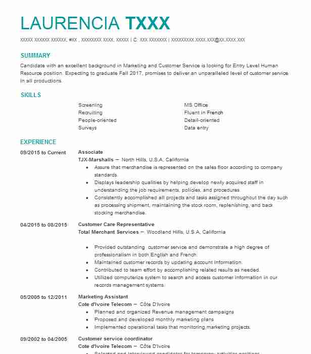 Associate Resume Example TJX Marshalls Panorama City California