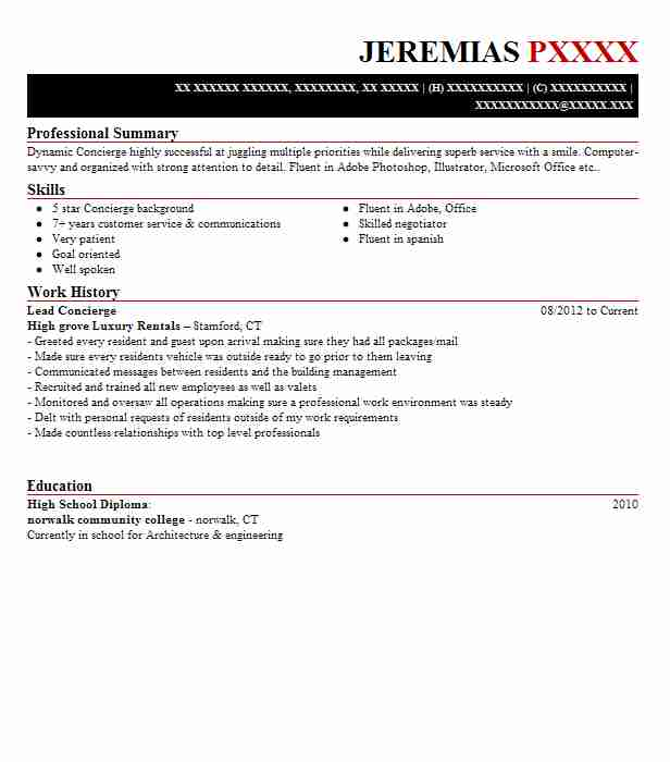 lead concierge resume example firstservice residential