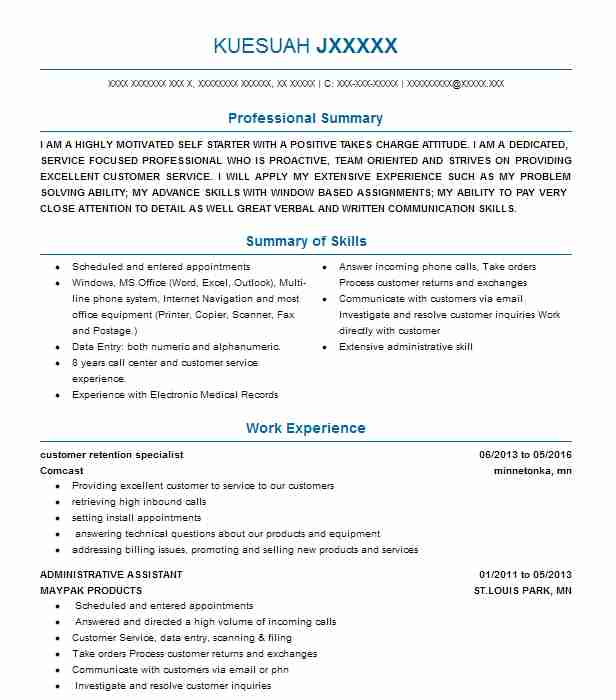 customer retention specialist resume example charter communications  spectrum