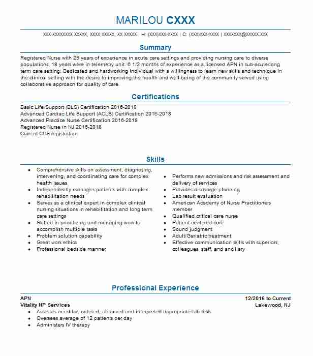 APN Resume Example (Vitality NP Services) - Toms River, New Jersey