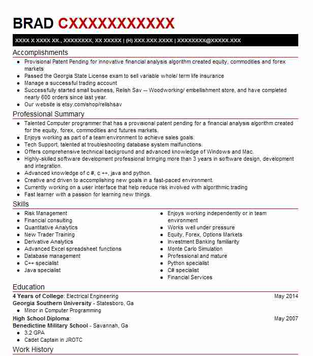 Quantitative Trader / Quant Developer Resume Example ...