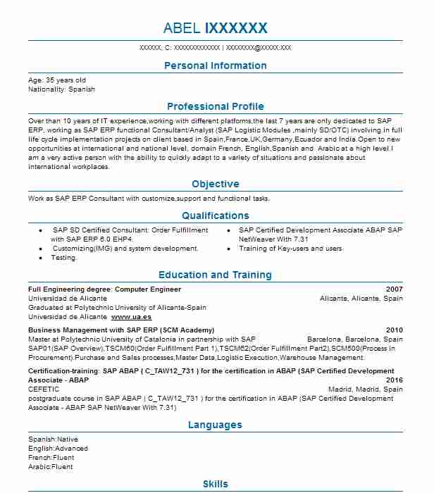 SAP Consultant Resume Example ROCHE (Accenture Consulting ...