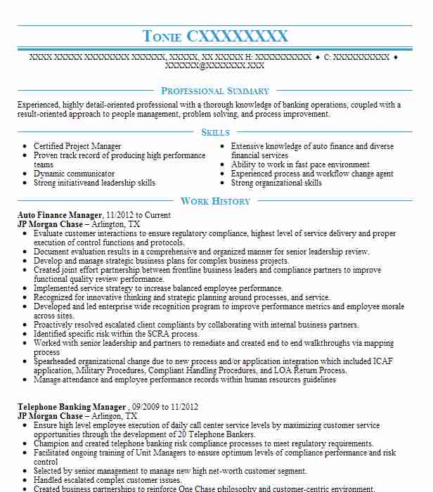 auto finance manager resume sample