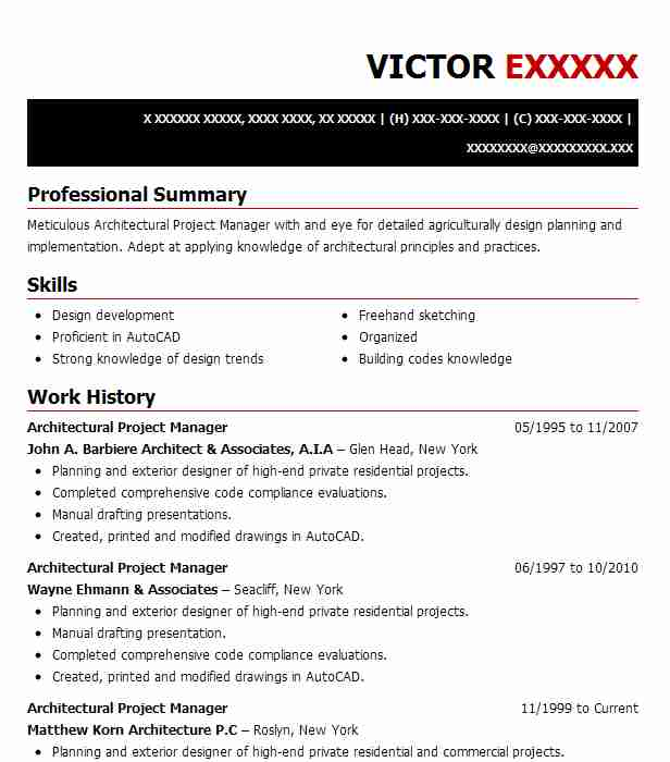 Architectural Project Manager Resume Sample | LiveCareer