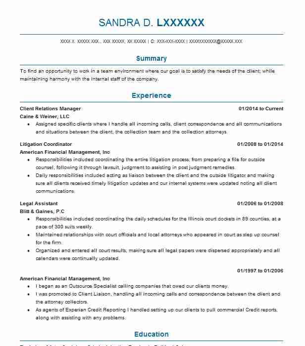 client relations manager resume sample