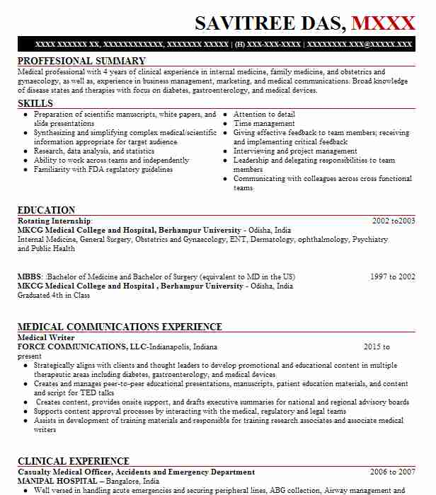 Casualty Medical Officer Resume Example JSS Hospital - San ...