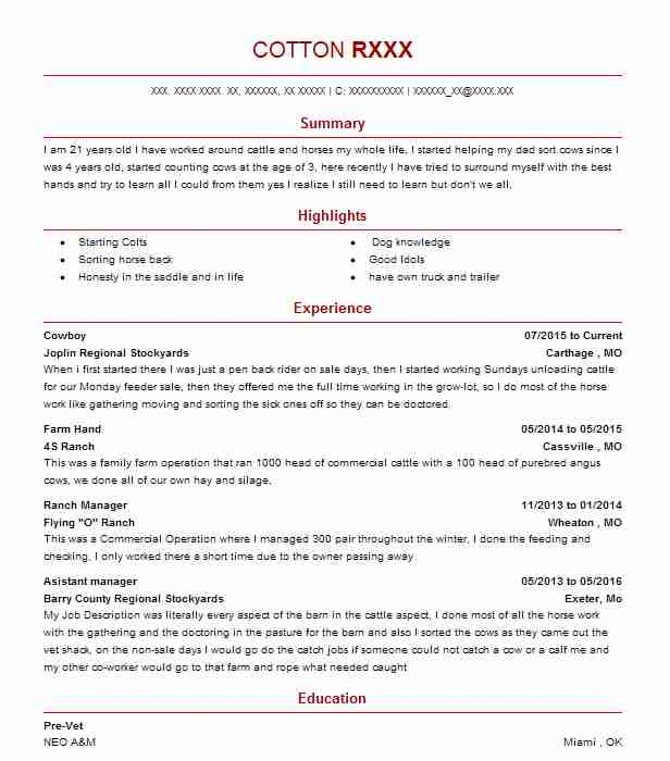 20 Ranch Resume Examples in Missouri | LiveCareer
