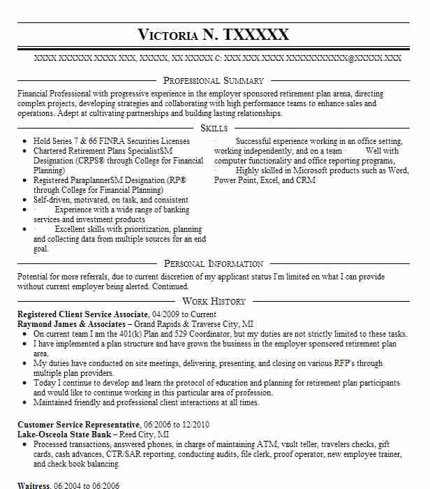 3 banking and financial services resume examples in grawn mi - Bank Proof Operator Sample Resume