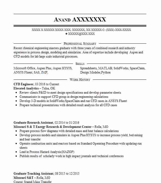 Cae Cfd Engineer Resume Example Iupui Formula Sae Team