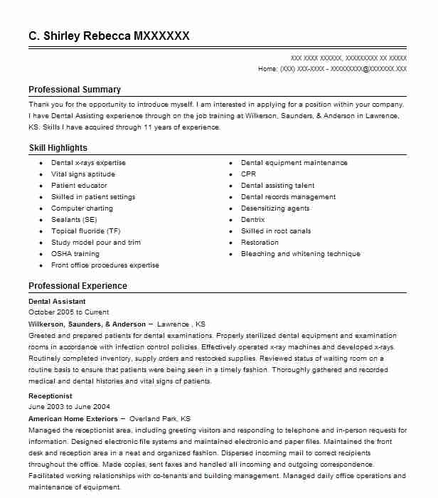 Dentist Receptionist Resume Sample  Receptionist Resumes  Livecareer