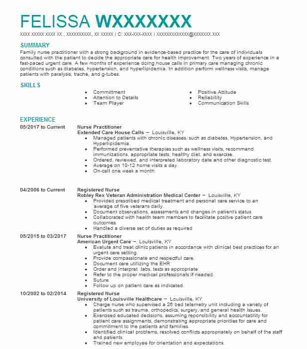 House Calls Nurse Practitioner Resume Example United Healthcare