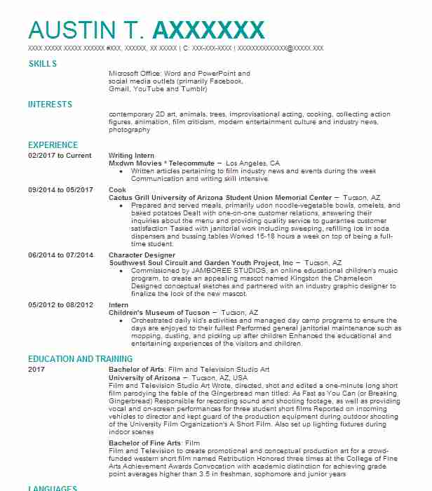 character effects artist resume example dreamworks animation