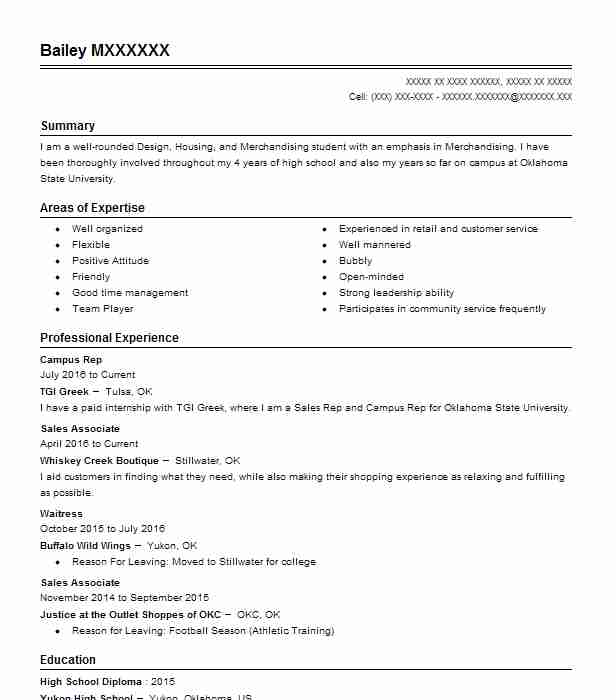 178 Fashion (Art, Fashion And Design) Resume Examples in Oklahoma