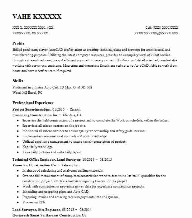 cad technician resume example anderson land surveying inc
