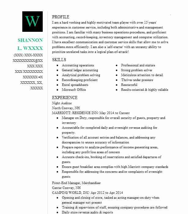 best night auditor resume example