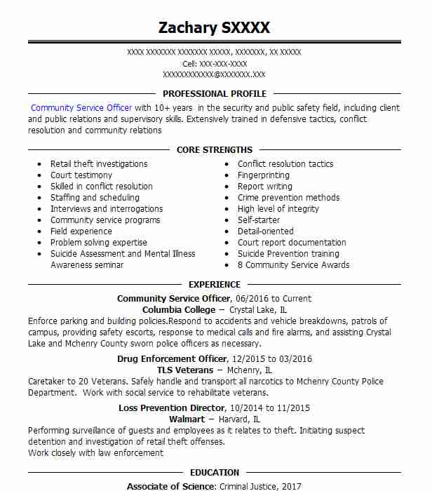 community service officer resume sample